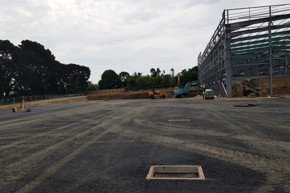 Base tarmac to lower carpark